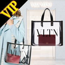VALENTINO Casual Style Unisex A4 PVC Clothing Totes