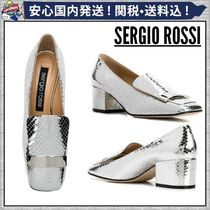 Sergio Rossi Square Toe Plain Leather Python Elegant Style Chunky Heels