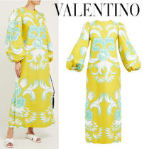 VALENTINO Crew Neck Tight Puffed Sleeves Cotton Long Party Style