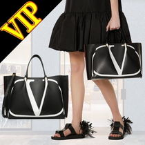 VALENTINO Casual Style Unisex Calfskin A4 2WAY Totes
