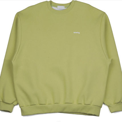 ASCLO Sweatshirts Crew Neck Unisex Street Style Long Sleeves Plain Cotton 17