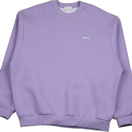 ASCLO Sweatshirts Crew Neck Unisex Street Style Long Sleeves Plain Cotton 19