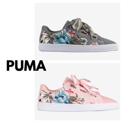 pretty nice a22b8 dcddc PUMA BASKET HEART Flower Patterns Rubber Sole Lace-up Casual Style Velvet