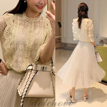 Casual Style Long Sleeves Medium Lace Shirts & Blouses