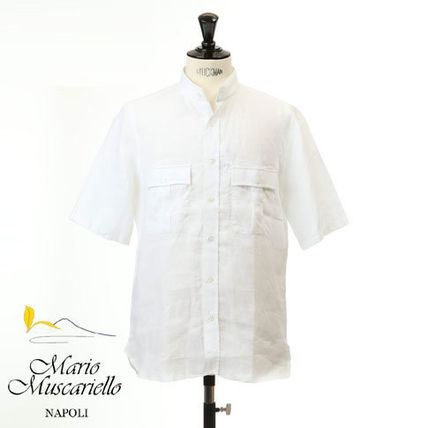 Linen Plain Short Sleeves Band-collar Shirts Shirts