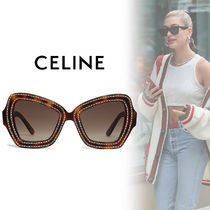 CELINE Blended Fabrics Studded With Jewels Cat Eye Glasses