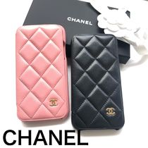 CHANEL Unisex Plain Leather Smart Phone Cases