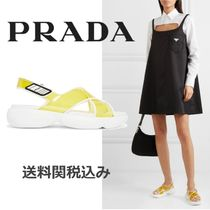 PRADA Open Toe Rubber Sole Blended Fabrics PVC Clothing