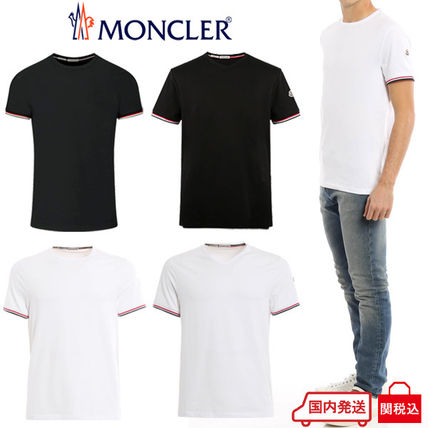 MONCLER Crew Neck Crew Neck Blended Fabrics Plain Cotton Short Sleeves