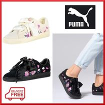 PUMA SUEDE Flower Patterns Lace-up Casual Style Suede Blended Fabrics