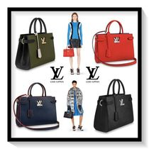 Louis Vuitton Blended Fabrics 2WAY Plain Leather Elegant Style Totes