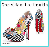 Christian Louboutin Stripes Dots Open Toe Platform Blended Fabrics Party Style
