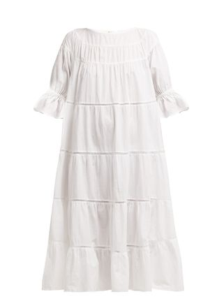 Casual Style A-line Cotton Medium Short Sleeves Dresses
