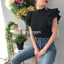 Short Plain High-Neck Puff Sleeves Summer Sweaters Cropped