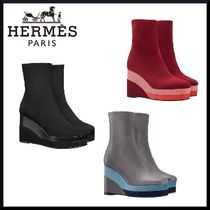 HERMES Suede Plain Elegant Style Wedge Boots
