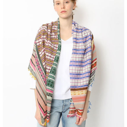 Other Plaid Patterns Casual Style Silk Fringes Accessories