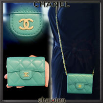 CHANEL CHAIN WALLET Lambskin Chain Plain Coin Purses