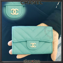 CHANEL ICON Unisex Calfskin Plain Card Holders
