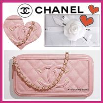 CHANEL CHAIN WALLET Casual Style Calfskin 3WAY Chain Plain Shoulder Bags