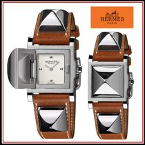 HERMES Studded Square Quartz Watches Analog Watches