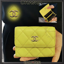 CHANEL MATELASSE Unisex Lambskin Bi-color Coin Purses