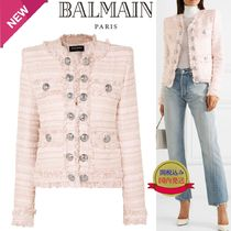 BALMAIN Short Stripes Tweed Fringes Jackets