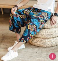Flower Patterns Street Style Cotton Oversized Sarouel Shorts