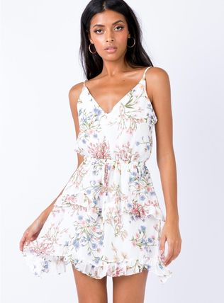 Short Flower Patterns Casual Style Street Style Slip Dresses