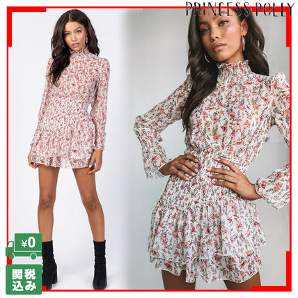 Short Flower Patterns Casual Style Puffed Sleeves