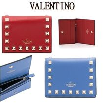 VALENTINO Calfskin Studded Folding Wallets