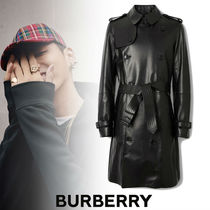 Burberry Street Style Plain Leather Long Trench Coats