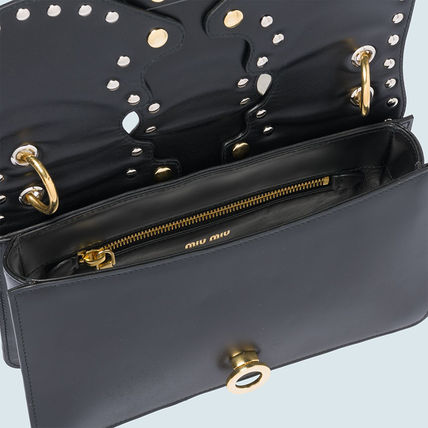 MiuMiu Shoulder Bags Calfskin Studded Plain Party Style Shoulder Bags 6