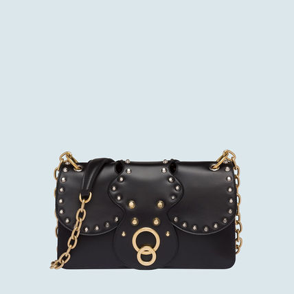 MiuMiu Shoulder Bags Calfskin Studded Plain Party Style Shoulder Bags 9