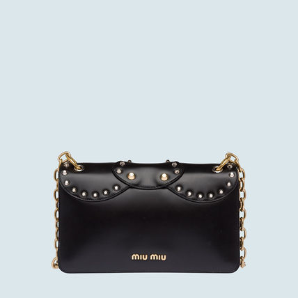 MiuMiu Shoulder Bags Calfskin Studded Plain Party Style Shoulder Bags 4