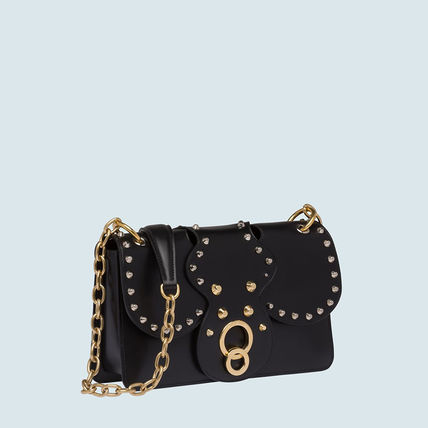 MiuMiu Shoulder Bags Calfskin Studded Plain Party Style Shoulder Bags 3