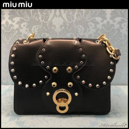 MiuMiu Shoulder Bags Calfskin Studded Plain Party Style Shoulder Bags