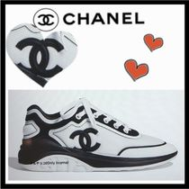 CHANEL ICON Unisex Bi-color Plain Sneakers