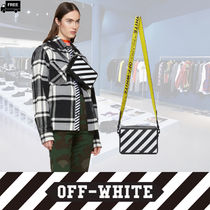 Off-White Stripes Casual Style 2WAY Plain Leather Handmade