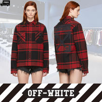 Off-White Other Check Patterns Casual Style Long Sleeves Cotton Medium