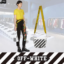Off-White Stripes Casual Style Leather Handmade Shoulder Bags
