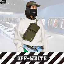 Off-White Casual Style Canvas Vanity Bags 2WAY Plain Handmade