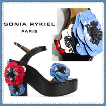 SONIA RYKIEL Open Toe Plain Leather Block Heels Heeled Sandals