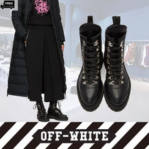 Off-White Plain Toe Casual Style Plain Handmade Ankle & Booties Boots