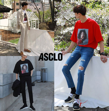 ASCLO More T-Shirts Unisex Street Style Cotton Short Sleeves Oversized T-Shirts