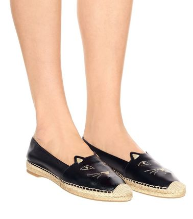 Casual Style Street Style Plain Other Animal Patterns Flats