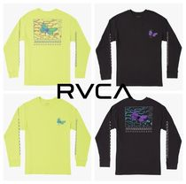 RVCA Crew Neck Tropical Patterns Long Sleeves Cotton