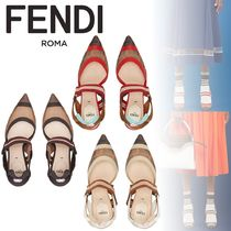 FENDI Block Heels Office Style Logo Block Heel Pumps & Mules