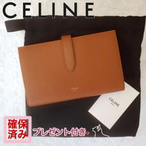 CELINE Strap Plain Leather Long Wallets