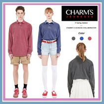 Charm's Unisex Street Style Collaboration Long Sleeves Plain Cotton
