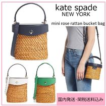 kate spade new york Blended Fabrics 2WAY Leather Straw Bags